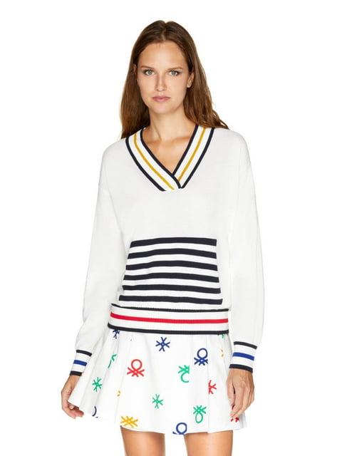 Пуловер белый в полоску Benetton 5165223