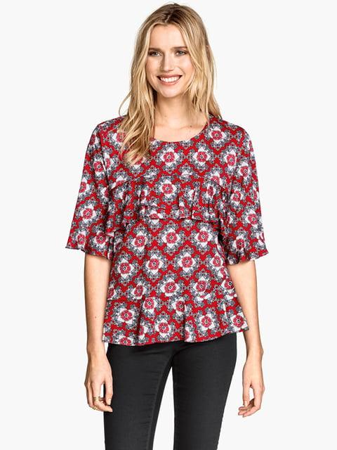 Блуза красная в принт H&M 5184992