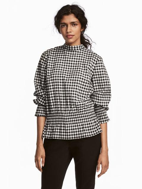 Блуза чорно-біла в клітинку H&M 5185253