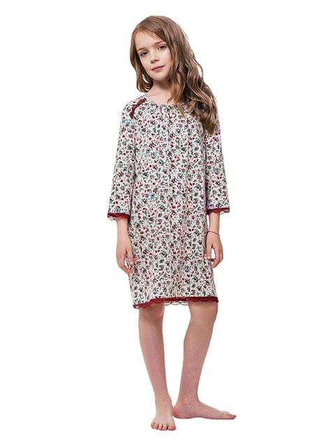 Ночная рубашка бордовая в принт Ellen 5182899