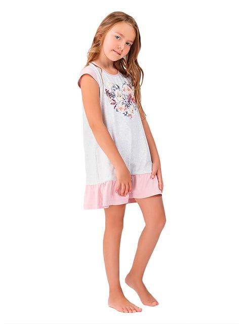 Ночная рубашка серая с принтом Ellen 5182900