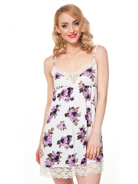 Сорочка нічна біла в квітковий принт Ellen 5182945