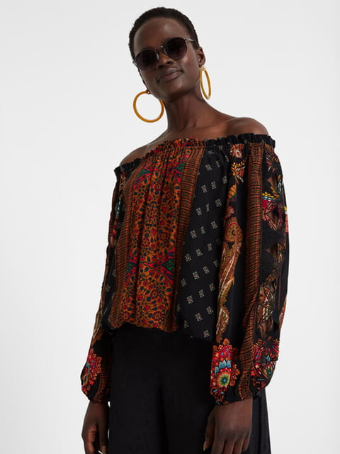 Блуза чорна в принт Desigual 5170136