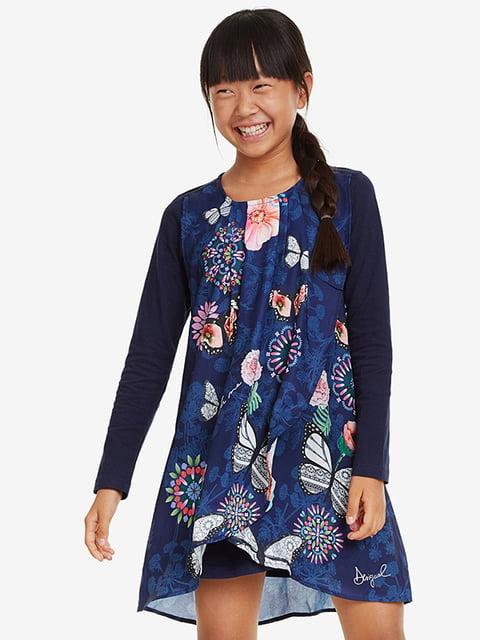 Сукня синя в принт Desigual 5185576