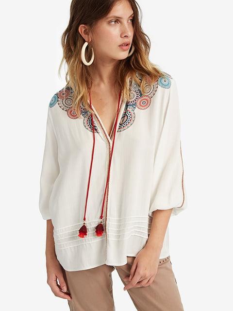 Блуза біла в принт Desigual 5196452