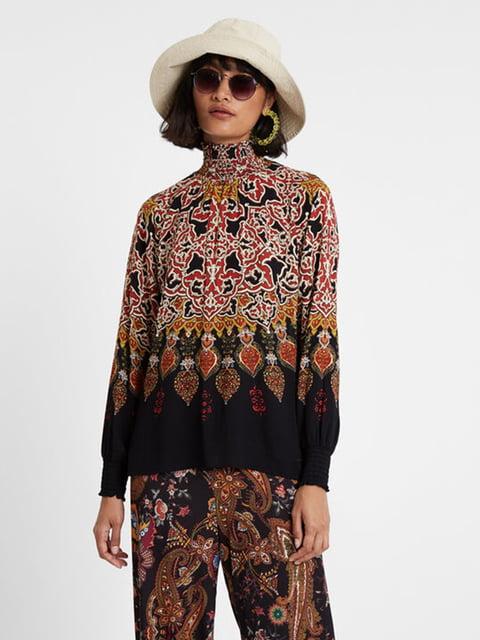 Блуза чорна в принт Desigual 5196453