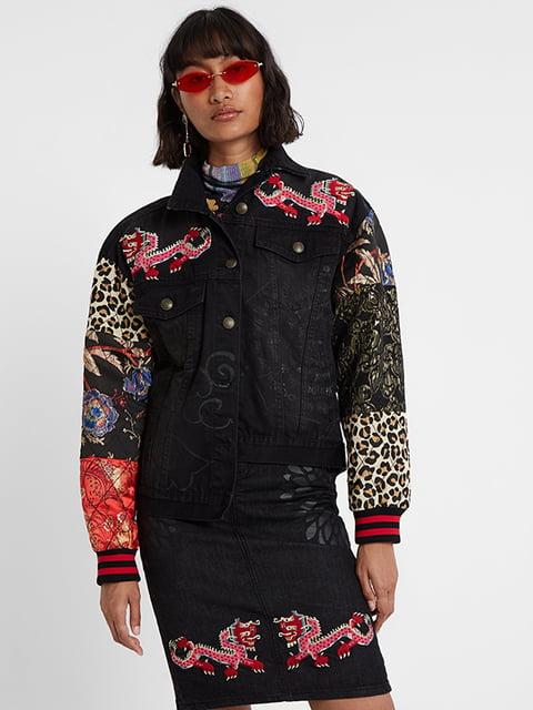 Куртка чорна в принт Desigual 5196456