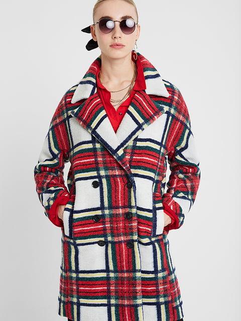 Пальто красное в клетку Desigual 5196460