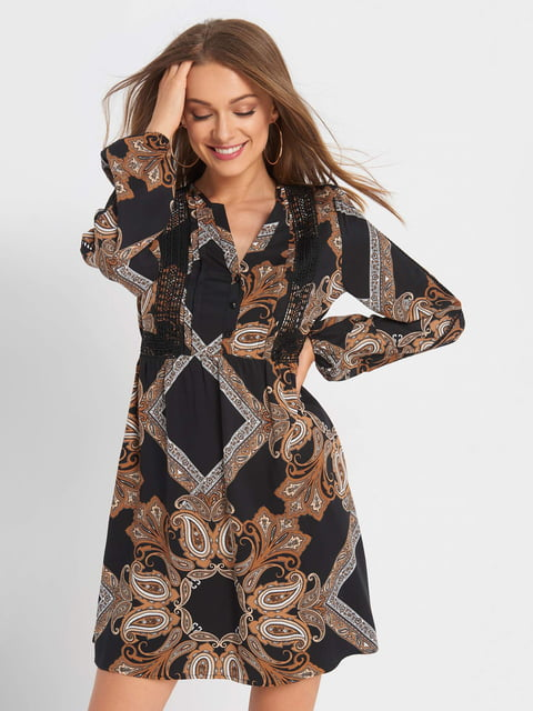 Сукня чорна з принтом Orsay 5203204