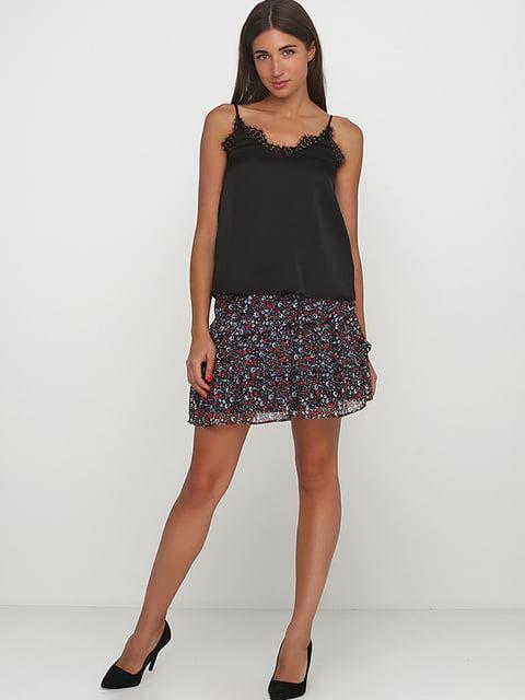 Юбка черная с цветочным принтом H&M 5197436