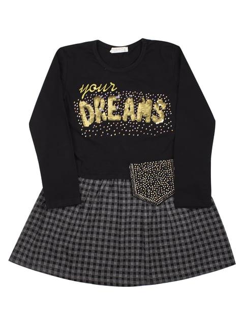Платье черное в клетку с декором Breeze 5209621