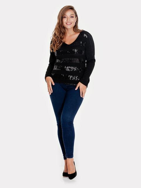 Пуловер чорний з декором Peony 5211742