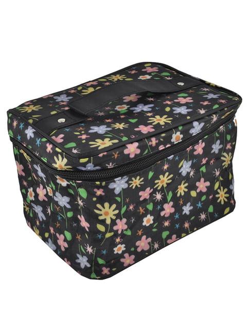 Косметичка чорна з квітковим принтом Luvete 5219719