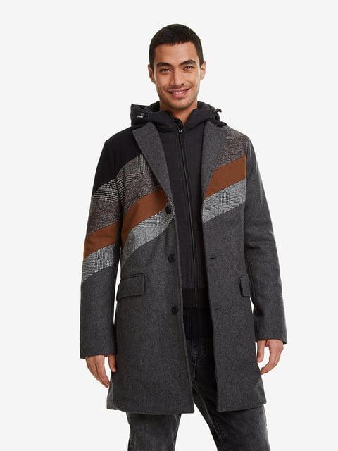 Пальто сіре в принт Desigual 5203096