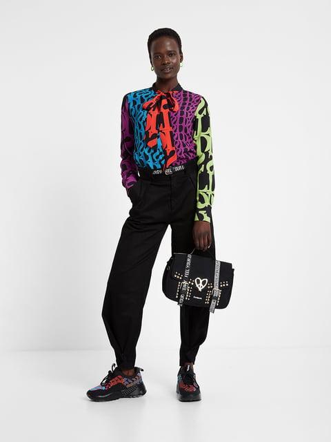 Блуза чорна в принт Desigual 5203101