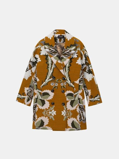 Пальто гірчичного кольору в принт Desigual 5224806