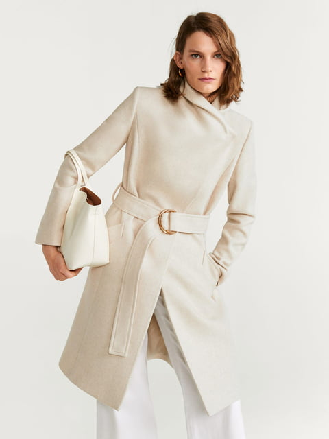 Пальто молочного кольору Mango 5204429