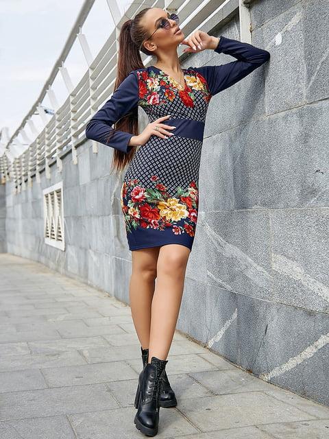 Платье синее с цветочным принтом Seventeen 5228415