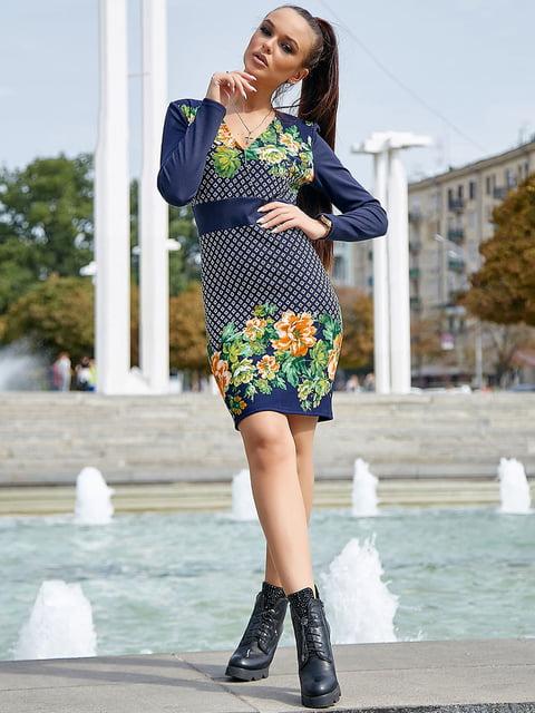 Платье синее с цветочным принтом Seventeen 5228429