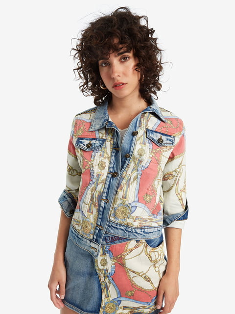 Куртка джинсовая голубая в принт Desigual 5251897
