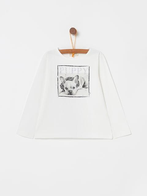 Лонгслив белый с принтом Oviesse 5271606