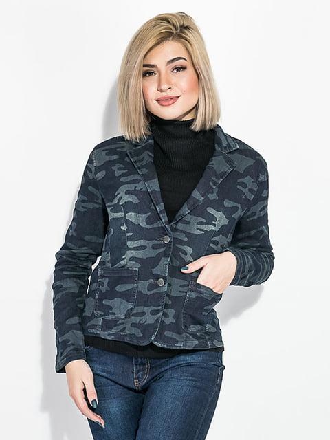 Куртка синьо-сіра в камуфляжний принт AGER 5275794