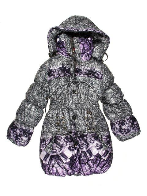 Пальто сіро-бузкове комбіноване Weiniboshimao 623519