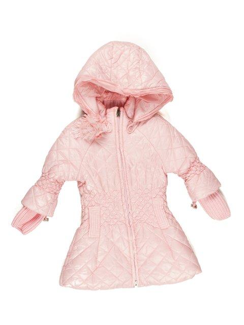 Пальто рожеве з капюшоном De Salitto 629063