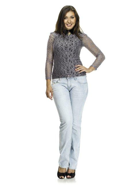 Блуза двоколірна ажурна з декором Marsel 521336