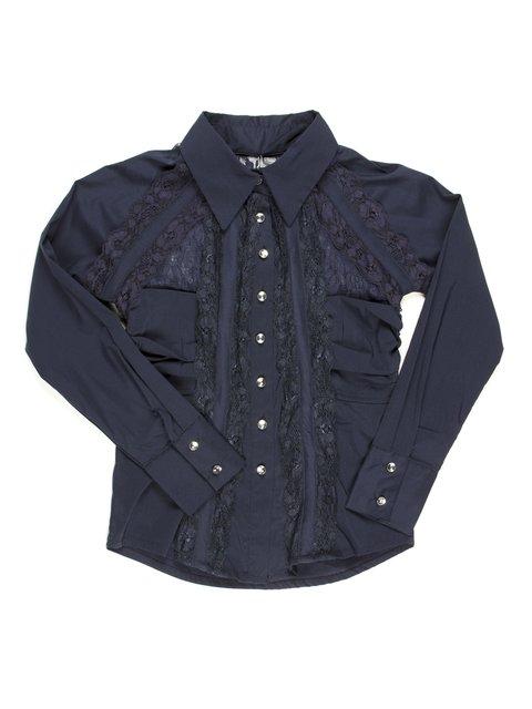 Блуза темно-синяя с гипюровыми вставками Pinetti 711751