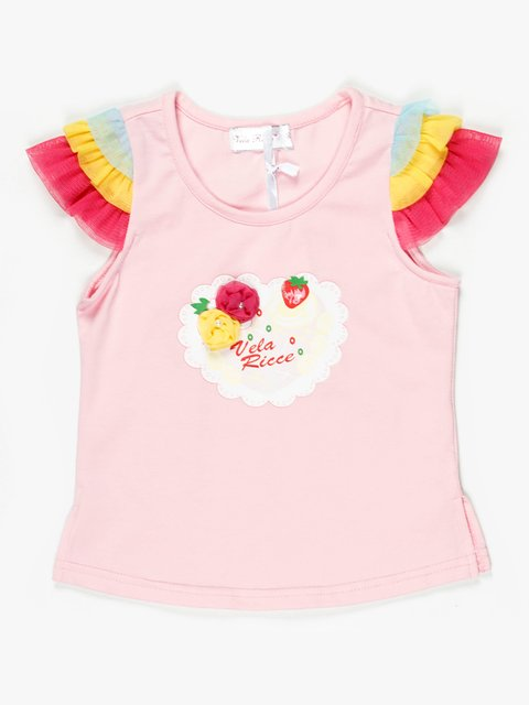 Топ світло-рожевий з декорованим принтом і яскравим рукавом Vela Ricсe 467847