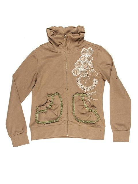 Кофта светло-коричневая с декорированной вышивкой и драпированными карманами ColaBear 649169