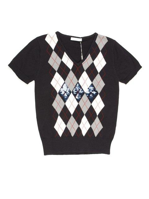 Пуловер темно-синій з геометричним малюнком De Salitto 711802