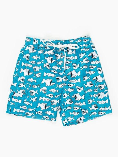 Шорты голубые в забавный принт пляжно-купальные Kodeks 467874